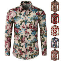 Mens Flowers Printed Turndown Collar Long Sleeve Casual Shirt Tops 6 Styles