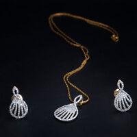 1,63 Cts Runde Brilliant Cut Diamanten Anhänger Ohrringe Kette Set In 18K Gold