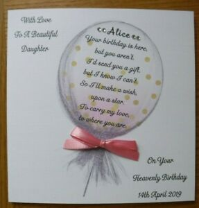 HANDMADE PERSONALISED BIRTHDAY IN HEAVEN CARD, CARRY MY LOVE BALLOON
