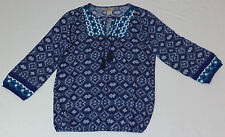 NWT Lucky Brand 3/4 Sleeve Woven Multi-Colored V-Neck Embroidered Top  S   L1125