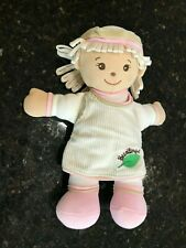 """Goldberger Seedlings Blossoms Baby Girl Doll Cream Pink 11"""" Plush Soft Toy Leaf"""