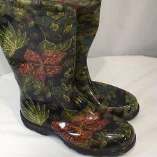 Sloggers Rain Garden Boots Rubber Midsummer Floral Black Size 6