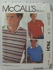 McCall's 7431 Men's Size M (38-40) Pullover Long Short Sleeve Top Shirt Cut 1981