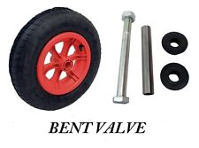 "RED SPOKED + AXLE  14"" Pneumatic Wheelbarrow Wheel Tyre 3.50 - 8 BENT VALVE"