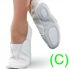 GYMNASTIC SHOES WHITE LEATHER TRAMPOLINING TRAINING DANCE CUSHIONED pumps (CC)