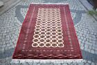 Bokhara Rug 6'1'' x 8'9'' ft. Vintage Pakistan Bokhara Rug Wool Hand Knotted