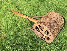 "Vintage Antique Iron Metal Pull Lawn Roller Garden Decor About 15"" X 15"" Heavy"