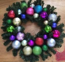 Christmas Wreath  Multi Colour Bauble decoration door hanging Xmas Hand Made