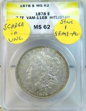 1878 7tf rev'78 Morgan dollar ANACS MS62 *VAM 116 B S.1 doubled P HitList40*