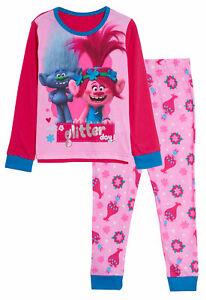 Girls Trolls Long Pyjamas Kids Poppy Full Length Pjs Nightwear Loungewear Size