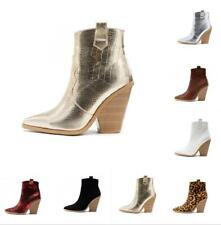 Chunky Heel Women Ankle Boots High Top Pointy Toe Ladies Cowboy Chelsea Boots SZ