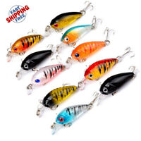 10 Pcs Small Fishing Lures Hard Minnow Crankbait Hard  Swimbait Bass Pike Perch
