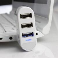 3 Port Mini USB2.0 Rotating Splitter Adapter Hub For PC Laptop Easy to Use White