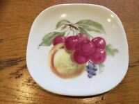 Limoges Small Plate Decorated With Fruit Peach, Cherries & Black Currants France