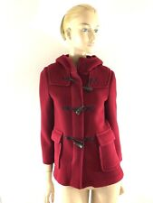 BURBERRY LONDON RED WOOL HOODED ZIPPERED JACKET SIZE 4/6