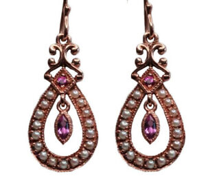 E143 Genuine 9ct Rose Gold NATURAL Pink Sapphire & Pearl Drop Earrings Vintage