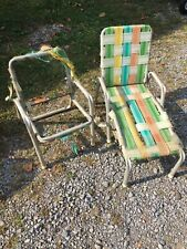 2 Rare Vintage Mid Century Webbed Aluminum Child's Beach Lawn Pool Lounge Chair
