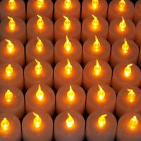 Flameless Flickering LED Tealight Candles Amber Light for Wedding Party 48pcs