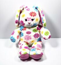 Build a Bear Pink Rainbow Bright Floral Bunny Plush Stuffed Toy 18� Easter