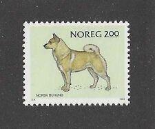 Dog Art Body Study Portrait Postage Stamp Norwegian Buhund Norway 1983 Mnh