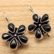 Design Black Earrings 925 Silver Plated Natural Onyx Gems Flower Style Handmade