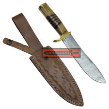 Wild Stag Bowie Knife Damascus Steel Spear Point Blade Wood Grip Leather Sheath