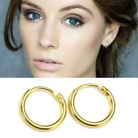 14k Gold Plated on 925 Sterling Silver Hinged Hoop Sleepers Earrings 8mm - 16mm