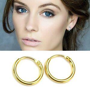 14k Gold Plated on 925 Sterling Silver Hinged Hoop Sleepers Earrings 8mm - 16mm