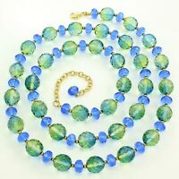 "Estate JOAN RIVERS Gold-tone BLUE GREEN Gradient GLASS Faceted BEAD 35"" NECKLACE"