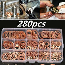 NWE 280 Pcs Assorted Engine Box Washers Solid Copper Sump Plug Washer Box
