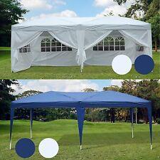 3x6m Faltpavillon Pavillon Zelt Partyzelt Gartenzelt weiß blau Fenster faltbar