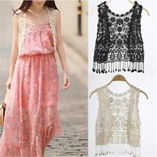 Summer Cotton Tassel Crochet Hollow Open Vest Cardigan Top Waistcoat Women Lace