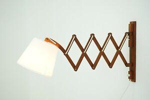 50er 60er Teak Scherenlampe Wandlampe Aro Leuchte Lampe Danish Design 50s 60s