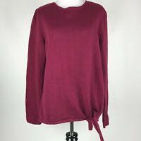 PureJill Women Maroon Knit Tie Hem Long Sleeve Sweater sz M