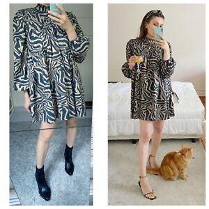Ganni cotton tiger print wide mini dress sz S
