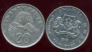 SINGAPORE - SINGAPOURE  20 cents  1989    ( etat )