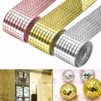 1 Roll Mirror Glass Mosaic Tiles Self Adhesive Wall Sticker Decal Home Decor