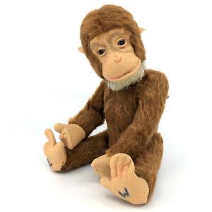 Schuco Tricky Monkey Yes No Chimp Mohair Plush 26cm 10in 1950s Glass Eyes Vtg