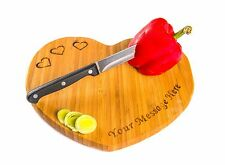 PERSONALISED HEART SHAPED CHOPPING BOARD AND WOOD SPOON with your own message!