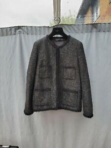 Zara Black Textured Wool Cotton Blend Blazer Jacket Size L VGC