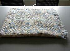 "Honeycomb Heart Afghan Throw 100%cotton Blanket 66"" X 48""  Blue & Pink on Ecru"