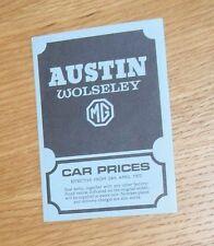 Austin Wolseley MG Price List 1972 - MG MGB GT Mini 1275 Wolseley Six 1300 1800