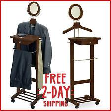 Valet Stand Man Suit Rack Coat Butler Clothes Hanger Bar Drawer Organizer Wood