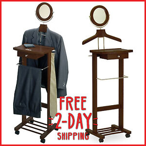 Valet Stand Man Suit Rack Coat Butler Clothes Hanger Bar Drawer Organizer Wood