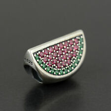 New Authentic Pandora Silver Charm Pave Watermelon Red & Green CZ 791901CZR