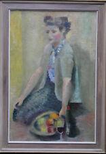 Alfred Lomnitz judío Retrato Mujer Arte Óleo Pintura expuso 1892-1953