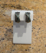 Heidi Daus Huggie Clip Turquoise Blue Bronze Earrings New Beautiful!
