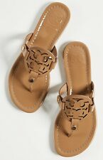 NEW $198 TORY BURCH 11 Miller SAND Patent Leather T-Logo Flat SHOES SANDALS