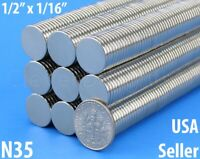 """Neodymium Magnets - 1/2"""" x 1/16"""" - N35 Disc Magnet - Crafts Strong 13mm x 1.5mm"""