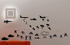 ARMY TROOPS HELICOPTER TANKS wall art quote sticker vinyl KIDS BEDROOM SOLDIER